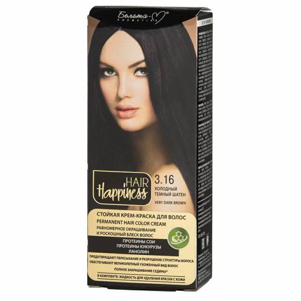 کیت رنگ مو هپی نس شماره 3.16 رنگ قهوه ای تیره سرد